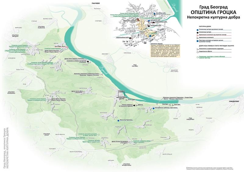 Непокретна културна добра са територије општине Гроцка на мапи Завода за заштиту споменика
